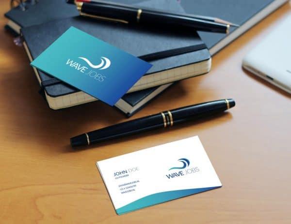 Visitekaartje en Logo ontworpen voor Wave Jobs